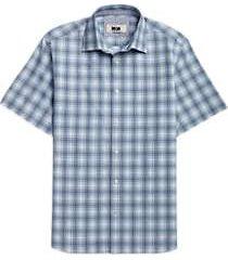 joseph abboud charcoal & blue plaid short sleeve sport shirt