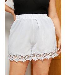 pantalones cortos de tirantes elásticos blancos de talla grande