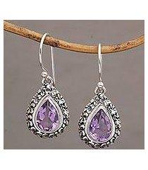 amethyst dangle earrings, 'jepun lilac' (indonesia)