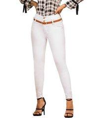 jeans colombiano con control de abdomen blanco ca bartolomeo