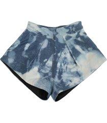 bleached denim shorts, blue