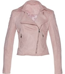 giacca biker in similpelle scamosciata (rosa) - bpc selection premium