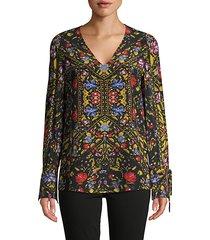 liana silk print blouse