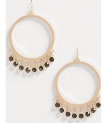 maurices womens black stone drop hoop earrings