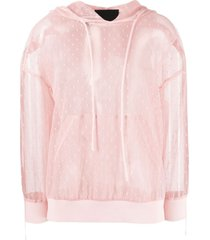 red valentino pink hoodie in point desprit tulle