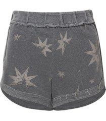 shorts john john stars moletom cinza feminino (cinza medio, gg)