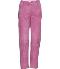 came suede trousers pantalon met rechte pijpen roze just female