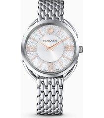 orologio crystalline glam, bracciale di metallo, bianco, acciaio inossidabile