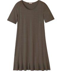 jersey jurk met korte mouw en volantzoom, taupe 36