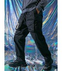 hombres hip hop distorsión digital 100% algodón estampado de letras cordón carga pantalones