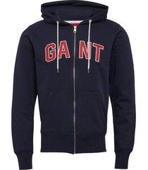 d1. gant sweat zip hoodie hoodie trui blauw gant