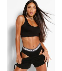 tall basic crop top met lage ronde hals, black