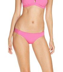 women's hurley max mod surf bikini bottoms, size x-small - pink