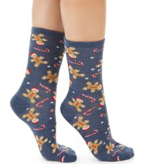 charter club women's gingerbread candy cane crew socks, created for macy's