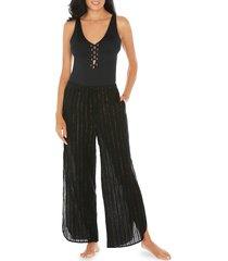 tahari women's lurex cotton coverup pants - black gold - size l