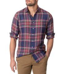men's rodd & gunn fairlight plaid linen button-up shirt, size xx-large - blue