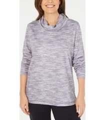 karen scott petite funnel-neck space-dyed top, created for macy's
