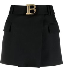 balmain short black grain de poudre fabric skirt