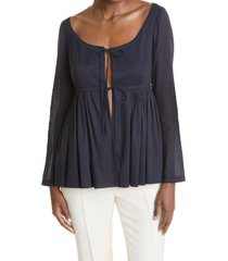 women's rebecca taylor cotton voile soft shirt jacket, size small - blue