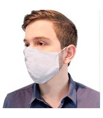 máscara facial dupla lavável com elástico branco