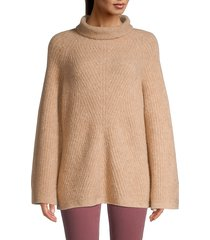 theory women's oversized ribbed turtleneck sweater - natural - size m