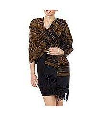 zapotec cotton rebozo shawl, 'fiesta in black and marigold' (mexico)