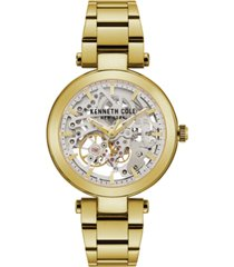 kenneth cole new york ladies' bracelet with skeleton automatic dial, 38mm