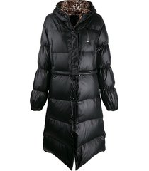 philipp plein flame puffer coat - black