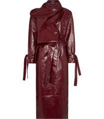 aleksandre akhalkatsishvili scarf detail vinyl trench coat - red