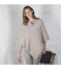 two button collar ladies poncho beige