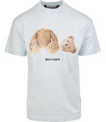 man pale blue bear t-shirt