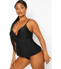 plus push up tankini bathing suit, black