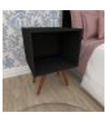 mesa de cabeceira moderna em mdf preto com 4 pés inclinados em madeira maciça cor mogno