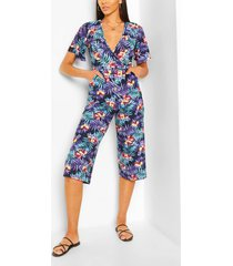 tropical leaf print wrap culotte jumpsuit, navy