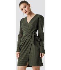trendyol striped wrapped midi dress - green