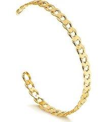 bracelete regulável com design de corrente groumet folheado francisca joias