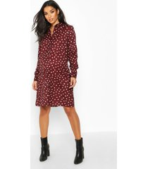 maternity polka dot shirt dress, wine