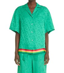 palm angels women's monogram jacquard bowling shirt, size 6 us in green multi at nordstrom