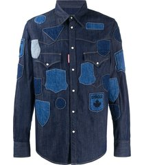 dsquared2 patch-work denim shirt - blue