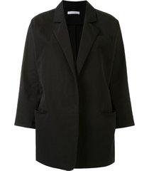 dusan batwing open front blazer - black
