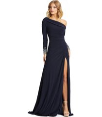 mac duggal one-shoulder long-sleeve gown