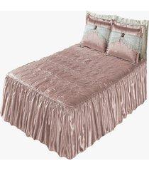 colcha alice seda matelada casal padrão 5 peças rosê