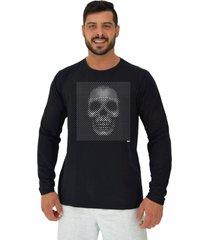 camiseta manga longa moletinho alto conceito caveira moldura reticular monocromatica preto - kanui
