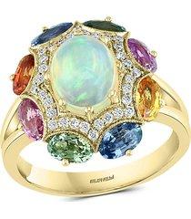 effy women's 18k rose gold, ethiopian opal, multi-color sapphire & diamond statement ring/size 7 - size 7