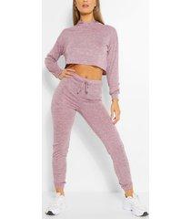 soft melange hoodie & jogger lounge set, pink