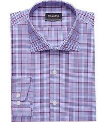 esquire non-iron blue & berry check slim fit dress shirt