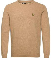 crew neck lambswool blend jumper stickad tröja m. rund krage beige lyle & scott