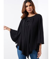 black oversize round neck lace-up front overlay cape t-shirts