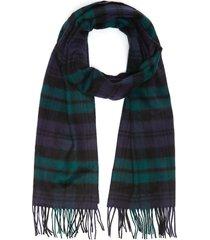 tartan fringe cashmere scarf