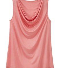 top met watervalhals, roze 38